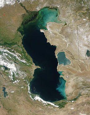 Satellitenaufnahme Des Kaspischen Meeres Grosster See Der Welt