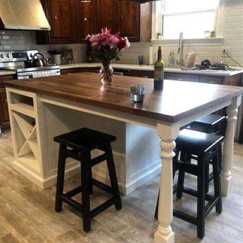 Kitchen Island With Seating On 3 Sides Large Finished Maple Etsy Kitchenideas Custom Kitchen Island Narrow Kitchen Island Kitchen Layout