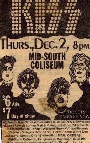 December 2 1976 Advertisement For The Kiss Concert At The Mid