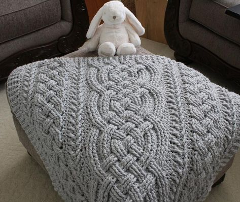 Crochet Blanket Pattern Irish Lullaby Cable Braided Blanket | Etsy