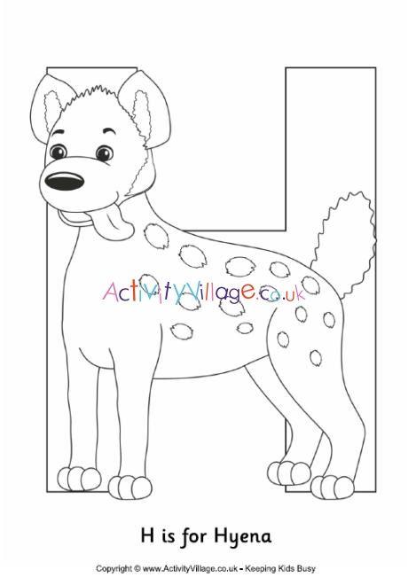 H Is For Hyena Colouring Page Met Afbeeldingen Wilde Dieren