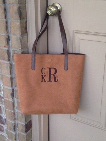 Excited to share this item from my #etsy shop: Monogrammed Tote Bag Brown Suede  Monogrammed Purse    Embroidered tote   Embroidered Bag   personalized Tote  monogrammed gift #bagsandpurses #totebag #monogrammedbag #birthdaygiftidea #bridesmaidgiftidea #embroideredmemories