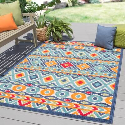 Tabb Floral Red Blue Indoor Outdoor Area Rug Reviews Joss Main Area Rugs Rugs Indoor Outdoor Area Rugs