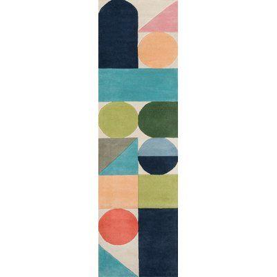 Novogratz Geometric Handmade Tufted Wool Blue Green Orange Area