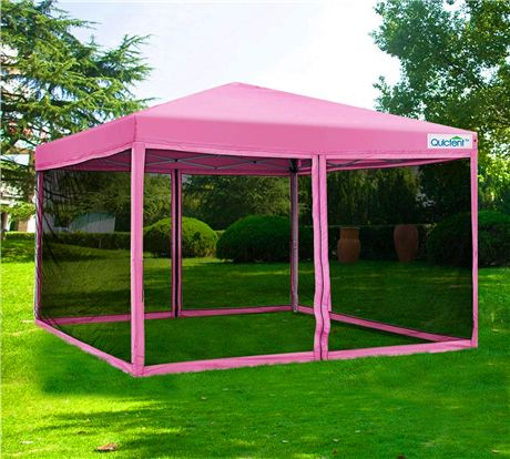 Quictent Screen 10 X 10 Pop Up Canopy With Mesh Walls Pink Canopy Tent 10x10 Canopy Tent Gazebo Tent