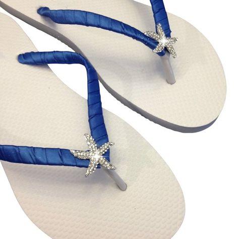 4ba90c0696cfa Bridesmaid Flip Flops - Bridal Flip Flops - Starfish Flip Flop - Royal Blue  Wedding - Bridalmaid Gif