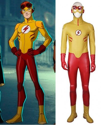 Young Justice Kid Flash Cosplay Costume Fast Shipping Justice Kids Cosplay Costumes Super Hero Outfits