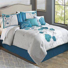 Better Homes and Gardens King Size Shams Contemporary Aqua Color Set Of 2