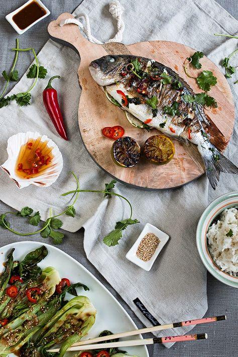 Dorade Asia Style mit Kokos-Reis und Pak Choi in Sesam-Sauce   seelenschmeichelei.blogspot.de