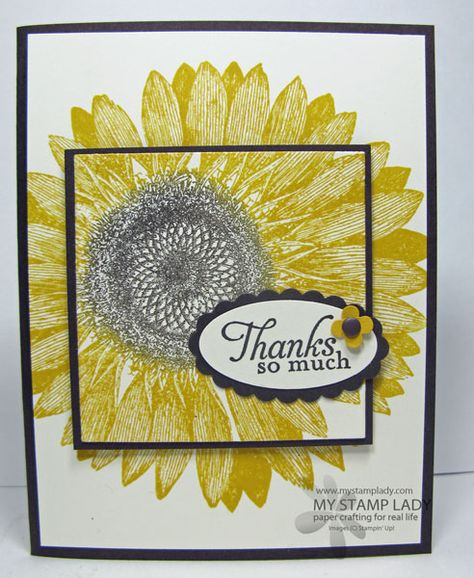 Layer Technique For Hand Stamped Cards Posted by Christine Miller on Sep 28, 2013 | first stamp the center of the Sunflower Stamp, then stamp the flower in the background. Turn the center of the flower so it is actually in the opposite direction of the background flower. The background flower looks great even though it is not lined up perfectly.