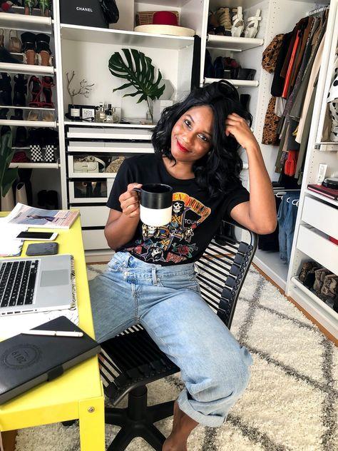 My IKEA PAX Wardrobe Cloffice Reveal Source by whatnicolewore Personal Branding, Marca Personal, Black Girl Fashion, Fashion Looks, Ikea Pax Wardrobe, Wardrobe Closet, Looks Instagram, Closet Office, Estilo Boho