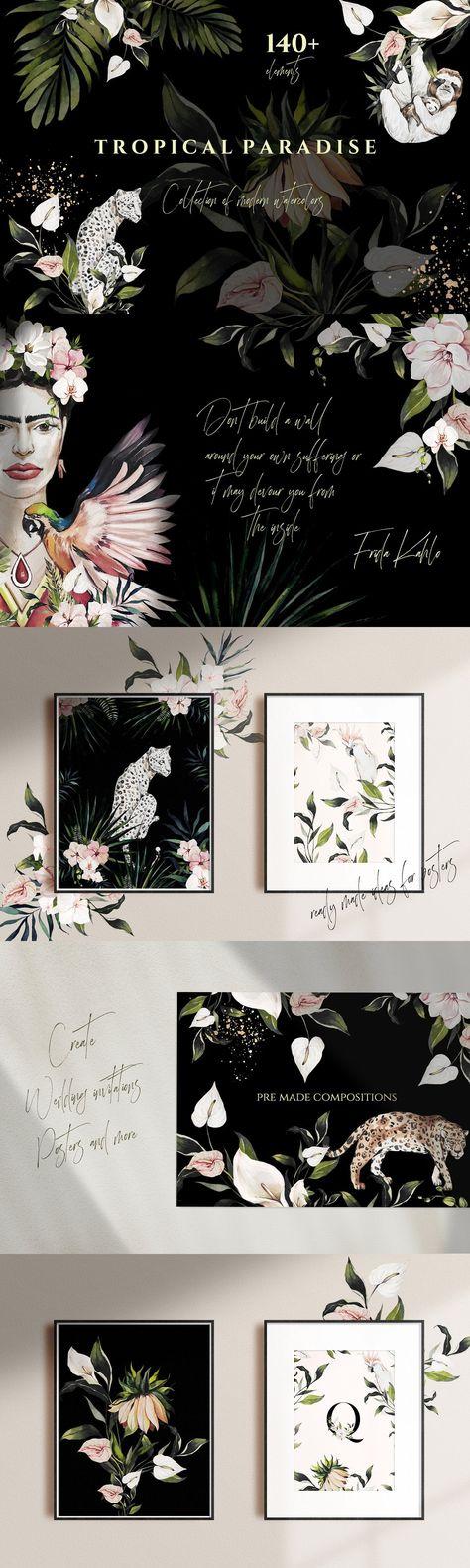 TROPICAL PARADISE-watercolor set