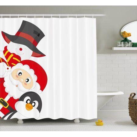 Christmas Shower Curtain Friendly Happy Santa Claus Penguin
