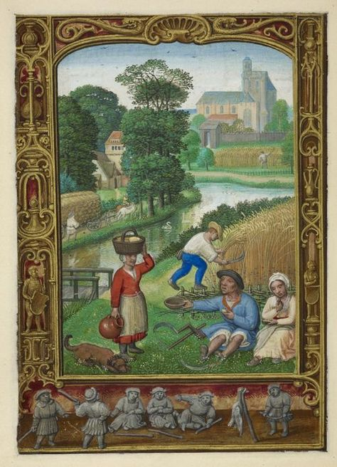 From our Medieval Manuscripts blog post 'A calendar page for August 2013'. Image: Miniature of labourers harvesting grain and resting in the fields, from the Golf Book (Book of Hours, Use of Rome), workshop of Simon Bening, Netherlands (Bruges), c. 1540