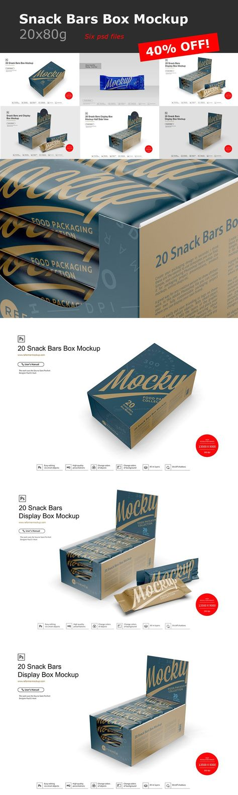 Snack Bars Box Mockup 20x80g