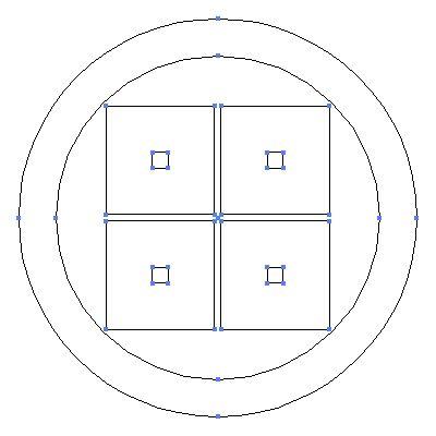 家紋 目結い の一種 丸に平四つ目 のepsフリー素材作成時の