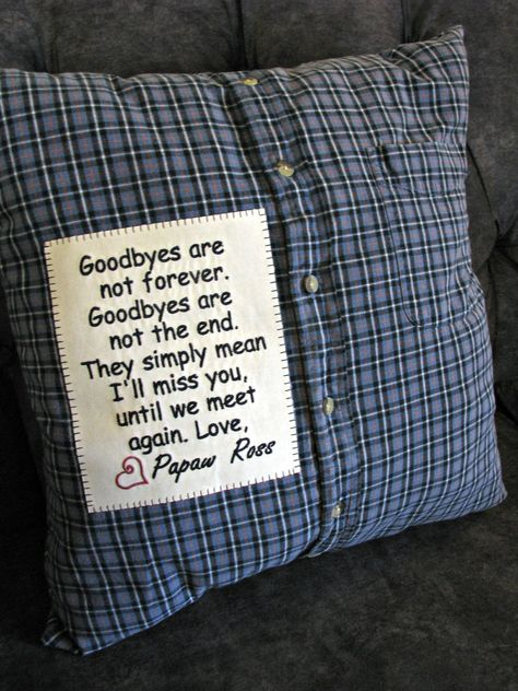 Custom Created Memorial Pillow from your treasured article of clothing, Made to Order Memory Pillow From Shirt, Memory Pillows, Memory Quilts, Fabric Crafts, Sewing Crafts, Sewing Projects, Craft Gifts, Diy Gifts, Memorial Gifts