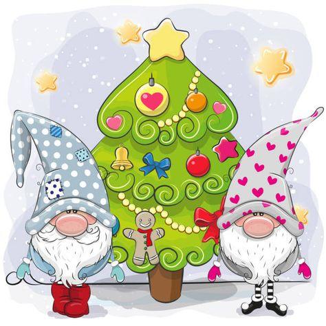 Two Cute Cartoon Gnomes And Christmas Tree Doodles De Natal