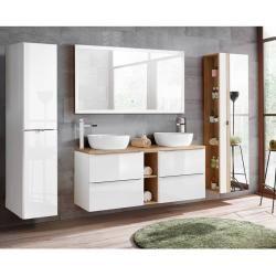 Badezimmer Set Weiss Hochglanz Mit Keramik Doppel Waschtisch Toskana 56 Led Touch Spiegel Bxhxt Ca In 2020 Unterschrank Badezimmer Unterschrank Und Aufsatzbecken