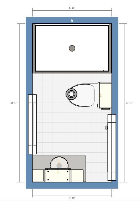 4 8 Bathroom With Stall Shower 2d Floor Plan Bathroom Floor