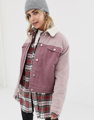 Pull Bear Cord Burg Collar Jacket In Pink Collar Jackets Long Coat Jacket Long Coat Women