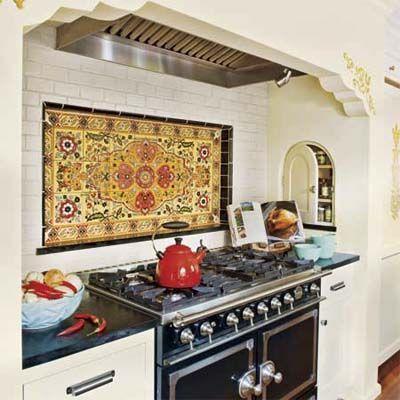 Kitchen Stove Alcove With Spanish Tile Backsplash Spanish
