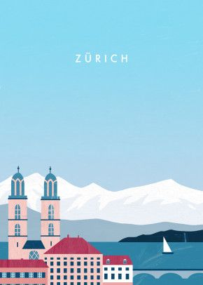 Zurich Poster Print By Katinka Reinke Displate In 2020 Vintage Travel Posters Travel Posters Poster City