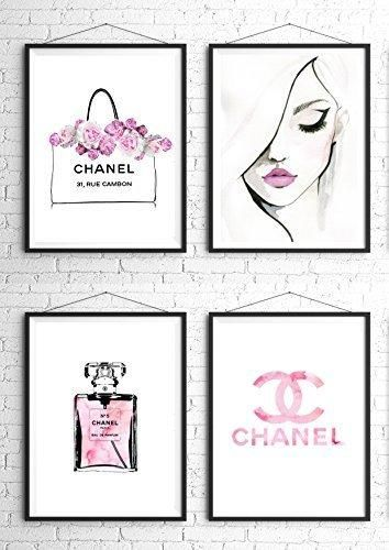 8.5x11 Set of 4 Coco Chanel Logo Splash Black Watercolor Art Print Wall Art Poster Fashion Artwork Fashion Illustration Modern Home Décor Motivational Gift