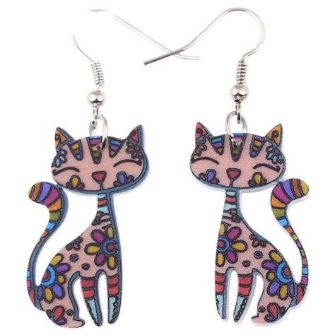 Drop Cat Earrings Dangle Long Acrylic Pattern Earring Fashion Jewelry For Women  #Unbranded #DropDangle