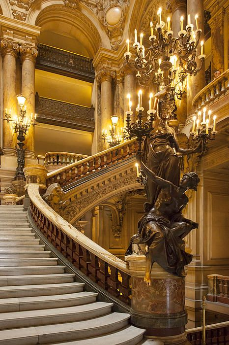 Interior of Palais Garnier - Opera House, Paris France. This looks like the architecture in Phantom of the Opera! Baroque Architecture, Beautiful Architecture, Architecture Details, Paris Opera House, Paris Ville, Grand Staircase, Stairway To Heaven, City Lights, Stairways