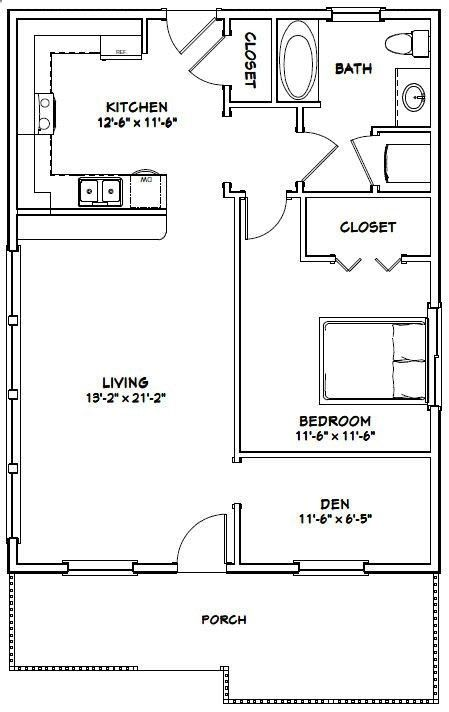 Plans To Build A Shed On A Weekend 26x34 House 26x34h1c 884 Sq Ft Excellent Floor Plans Guest House Plans One Bedroom House Plans One Bedroom House
