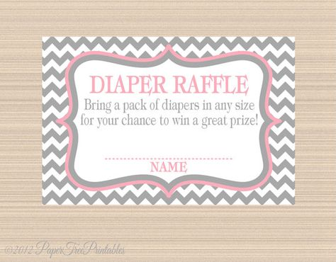 Digital Diaper Raffle Tickets, Grey and Pink Chevron Baby Shower on Etsy, $5.00