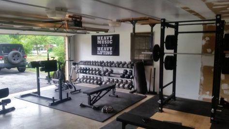 Trendy home gym room decor treadmills Home Gym Garage, Diy Home Gym, Gym Room At Home, Basement Gym, Crossfit Garage Gym, Best Home Gym Equipment, Home Gym Design, Trendy Home, Workout Rooms