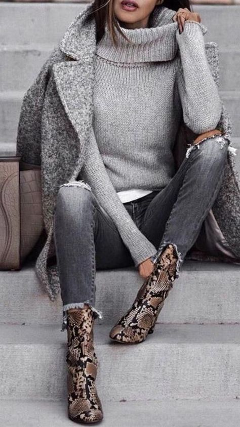 Outfit fall Love this minimalist outfit with attention focused on awesome snake pattern ankl. Love this minimalist outfit with attention focused on awesome snake pattern ankle boots.