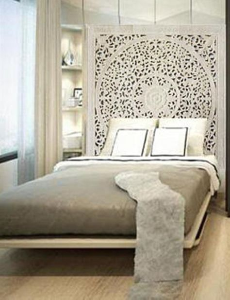 Thai White Queen Size Bed Bohemian Headboard Sculpture Lotus Flower Mandala Wooden Hand Craved Carvi
