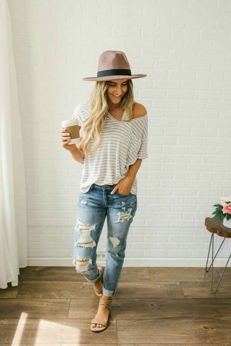 Really feeling this casual summer vibe with off the shoulder striped t-shirts an., Summer Outfits, Really feeling this casual summer vibe with off the shoulder striped t-shirts and ripped denim jeans.