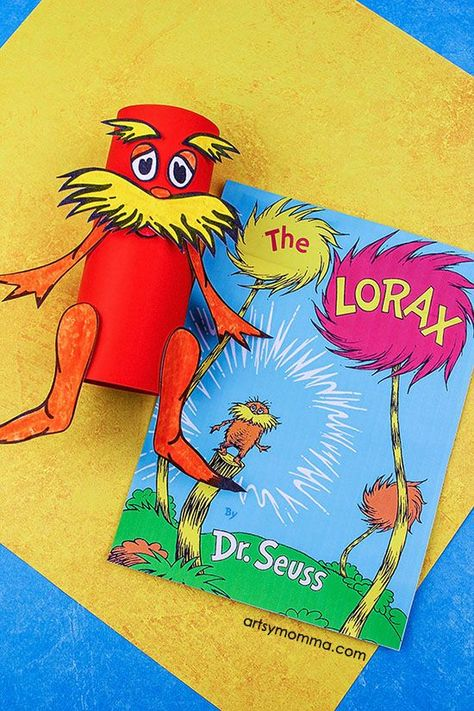 Recycled Cardboard Tube Lorax Craft With Printable Template Lorax Craft Preschool Arts And Crafts The Lorax