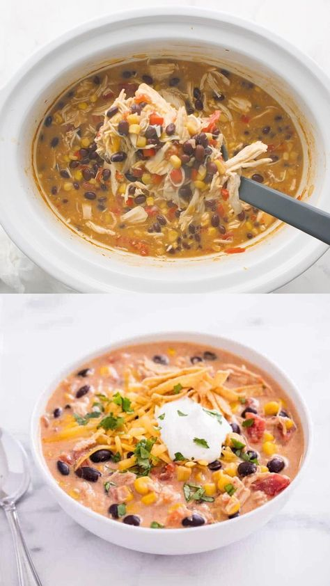 This slow cooker chicken enchilada soup is my new favorite! It's creamy, comforting and full of delicious flavor. #chickenenchiladasoup #enchiladasoup #soup #souprecipes #soups #crockpot #crockpotrecipes #crockpotsoups #slowcooker #slowcookerrecipes #slowcookersoups #fall #fallrecipes #fallsoups #videos #recipevideo #foodvideo #videorecipe #recipes #iheartnaptime