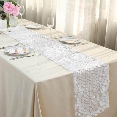 "PACK of 12 Wedding 12/"" x 108/"" Lace Table Runner Party Venue banquet Decoration"