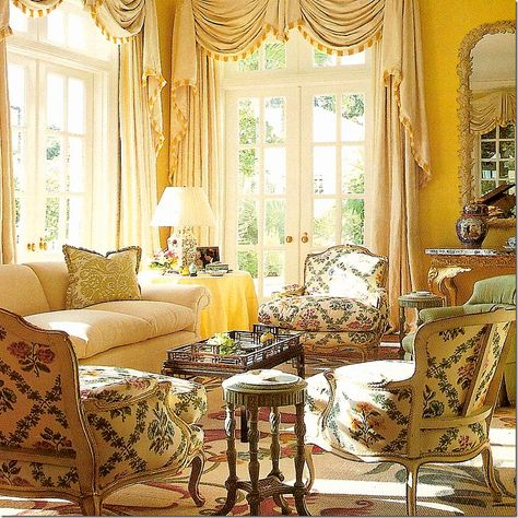 Yellow living room... Alexa Hampton. She is her Father's daughter...very Colefax and Fowler.