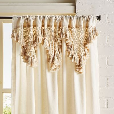 Solid Macrame Natural 84 Curtain, 84 In Curtains