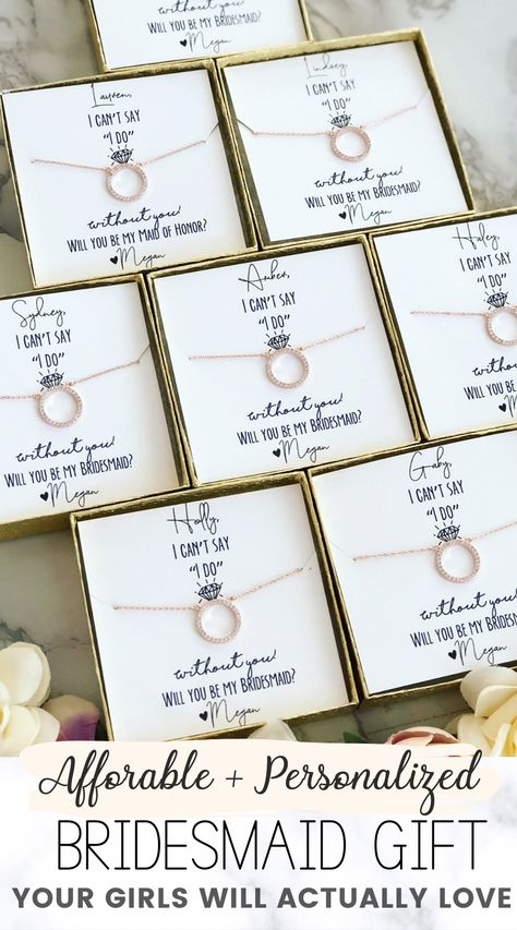 """Affordable & personalized bridesmaid gift favor that is the perfect surprise your girls will love! Timeless bridesmaid gift idea. This """"will you be my bridesmaid?"""" gift is a must-have. Check out more wedding favors, bridesmaid gifts and more at Love Leigh Gift Co.  #weddings #bridesmaidideas #bridesmaidgiftideas #weddingfavors #weddinggifts #weddingfavoridea #bridesmaidpartygift #willyoubemybridesmaid #weddingideas #bridesmaidfavorideas #weddingplanning"""