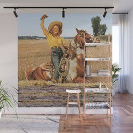 Vintage Western Cowgirl On Horse In Hay Field Wall Mural Wall Murals Western Cowgirls Vintage Western