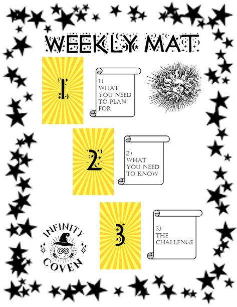 This Tarot Mat Digital Download is only $2.00 and was designed to complement your Tarot reading practice. These questions will help to guide you in your weekly Tarot practice. We also offer a laminated version of this mat to protect it from all the things you use in your tarot craft; water, oils, candle wax, herbs etc. #JoinInfinityCoven #InfinityCoven #TarotMat #TarotSpread #Tarot #TarotPractice #TarotLayout #TarotReader #Witch #Divination #WeeklyPractice