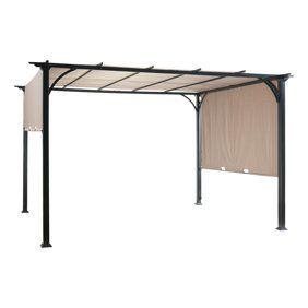 Belham Living Steel Outdoor Pergola Gazebo With Retractable Canopy Shades Walmart Com Outdoor Pergola Steel Pergola Pergola Canopy