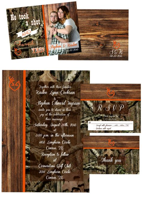 Classic Mossy Oak Wedding Invitation Orange Trim by KisiKreations