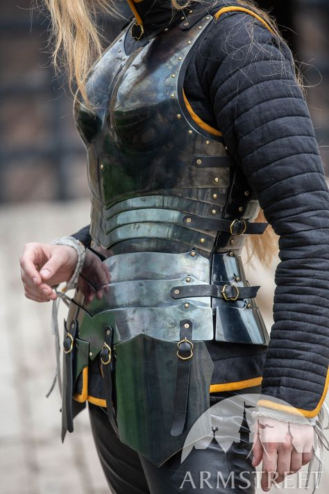 """Female armor kit made of blackened spring steel """"Dark Star"""" for sale. Available in: stainless, blackened spring steel, mirror polishing, satin polishing :: by medieval store ArmStreet"""
