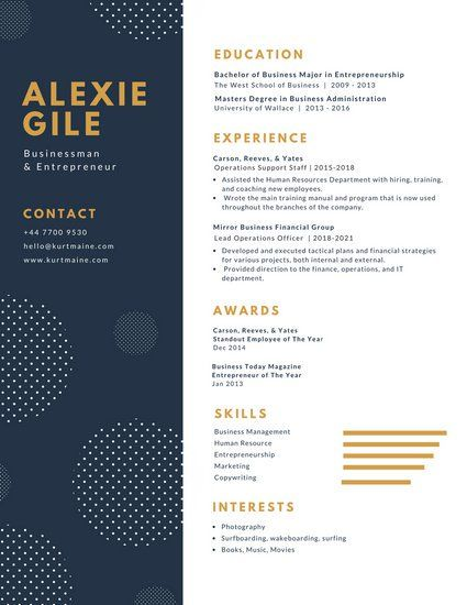 Canva White And Blue With Polka Dots Minimalist Resume Macls7arevg Jpg 425 550