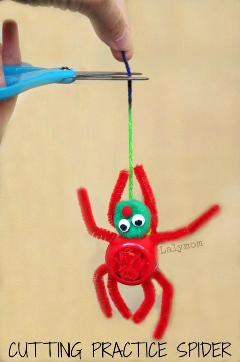Make fine motor FUN with this activity that kids LOVE! Children can practice cutting and scissor skills by cutting the spider off of the web. Easy to prep, this activity provides fun for hours. This would be a fun activity to plan for Halloween. #cutting #scissorskills #finemotor #activities #kids