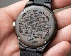 Great Gift For Son - Son Watch - Engraved Wooden by HeavenKP on Zibbet
